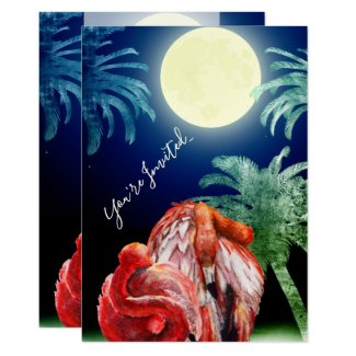 Sleeping Flamingos and Moon Tropical Beach Wedding Invitation