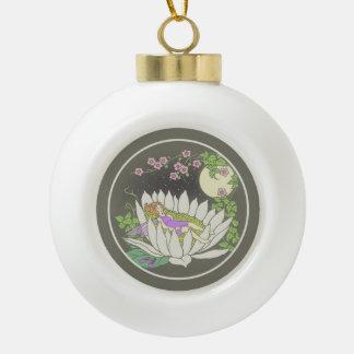 Sleeping Flower Fairy Moonlight Stars Ceramic Ball Christmas Ornament