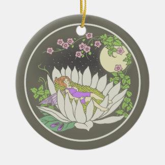 Sleeping Flower Fairy Moonlight Stars Ceramic Ornament