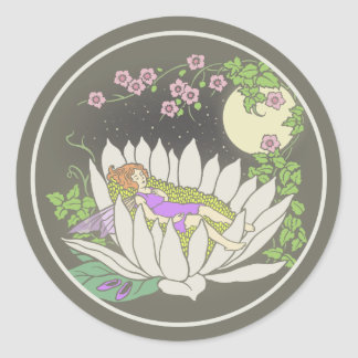 Sleeping Flower Fairy Moonlight Stars Classic Round Sticker