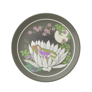 Sleeping Flower Fairy Moonlight Stars Dinner Plate