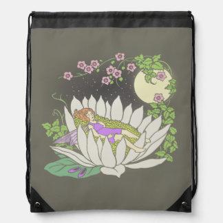 Sleeping Flower Fairy Moonlight Stars Drawstring Backpack