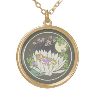 Sleeping Flower Fairy Moonlight Stars Gold Plated Necklace