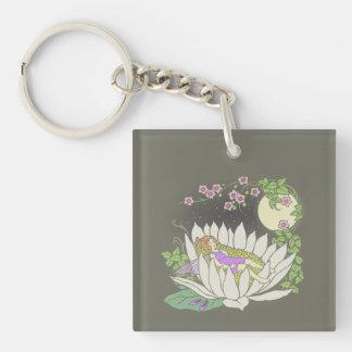 Sleeping Flower Fairy Moonlight Stars Keychain
