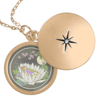 Sleeping Flower Fairy Moonlight Stars Locket Necklace