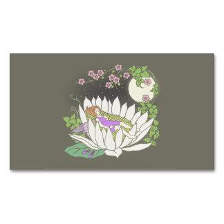 Sleeping Flower Fairy Moonlight Stars Magnetic Business Card