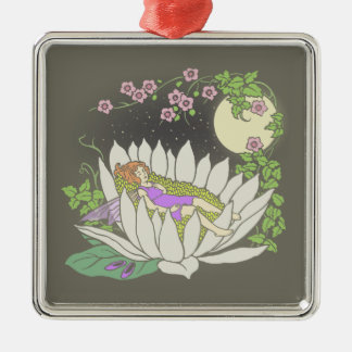 Sleeping Flower Fairy Moonlight Stars Metal Ornament
