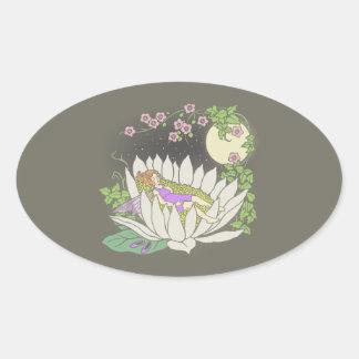 Sleeping Flower Fairy Moonlight Stars Oval Sticker