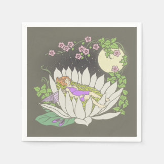 Sleeping Flower Fairy Moonlight Stars Paper Napkin