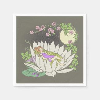 Sleeping Flower Fairy Moonlight Stars Paper Napkin