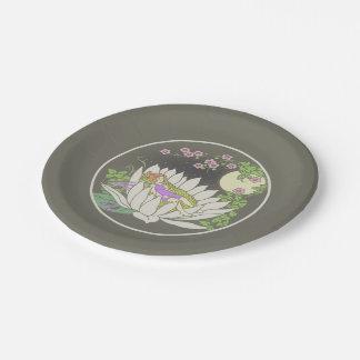 Sleeping Flower Fairy Moonlight Stars Paper Plate