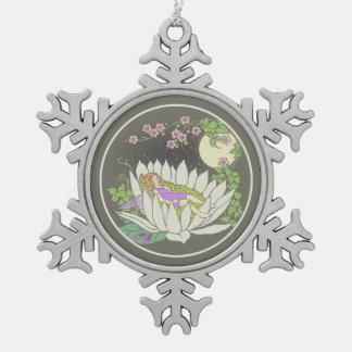 Sleeping Flower Fairy Moonlight Stars Snowflake Pewter Christmas Ornament