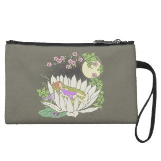 Sleeping Flower Fairy Moonlight Stars Suede Wristlet Wallet