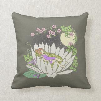 Sleeping Flower Fairy Moonlight Stars Throw Pillow