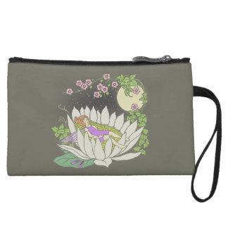 Sleeping Flower Fairy Moonlight Stars Wristlet Wallet