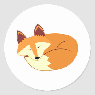 Sleeping Fox Classic Round Sticker