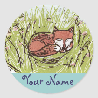 Sleeping Fox Personalized Stickers