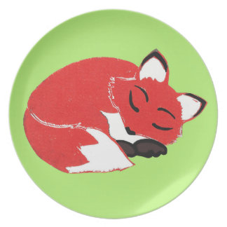 Sleeping Fox with Green Background Plate