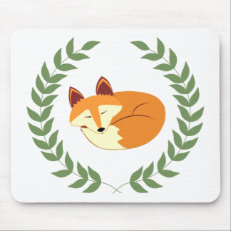 Sleeping Fox with Laurel Wreath Mouse Pad
