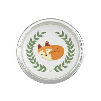 Sleeping Fox with Laurel Wreath Photo Ring