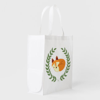 Sleeping Fox with Laurel Wreath Reusable Grocery Bag