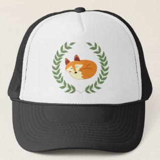 Sleeping Fox with Laurel Wreath Trucker Hat