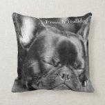 Sleeping French Bulldog Throw Pillow