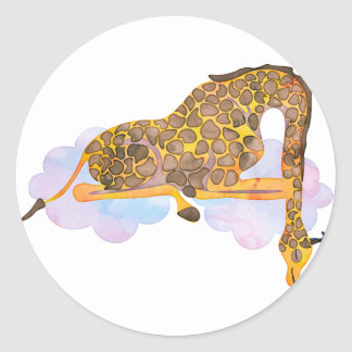 Sleeping Giraffe Classic Round Sticker