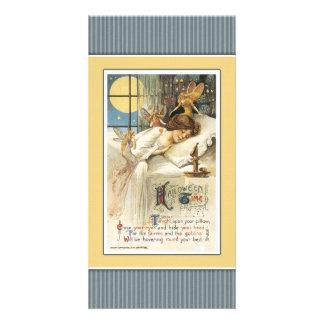 Sleeping girl and faeries - halloween design card