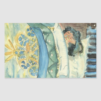 Sleeping girl (II) by Walter Gramatte Rectangular Sticker