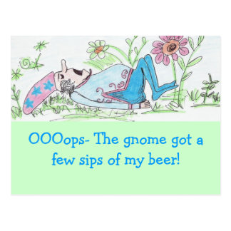 sleeping gnome, OOOops- The gnome got a few sip... Postcard