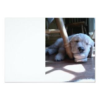 Sleeping Golden Retriever Puppy 5x7 Paper Invitation Card