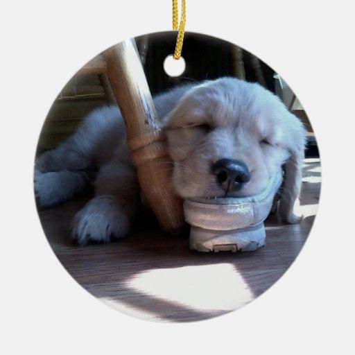 Sleeping Golden Retriever Puppy--Merry Christmas Christmas Ornaments