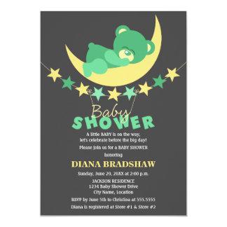 Sleeping Green Teddy Bear On Moon Baby Shower Card