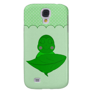 Sleeping Green Turtle Frilly Frame With Dots Samsung Galaxy S4 Case