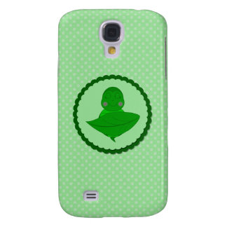 Sleeping Green Turtle Frilly Frame With Dots Galaxy S4 Cases