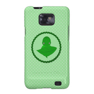 Sleeping Green Turtle Frilly Frame With Dots Samsung Galaxy SII Cover