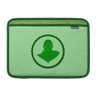 Sleeping Green Turtle Frilly Frame With Dots Sleeve For MacBook Air