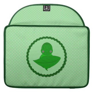 Sleeping Green Turtle Frilly Frame With Dots Sleeves For MacBooks