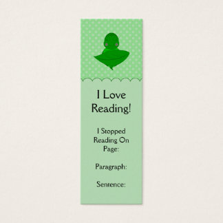 Sleeping Green Turtle Frilly Frame With Dots Mini Business Card