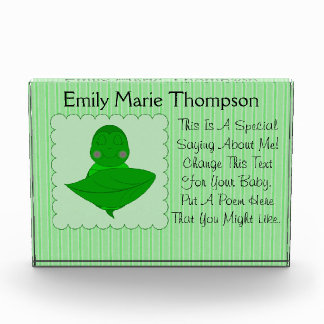Sleeping Green Turtle Frilly Frame With Stripes Acrylic Award