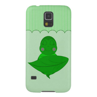 Sleeping Green Turtle Frilly Frame With Stripes Galaxy S5 Cover