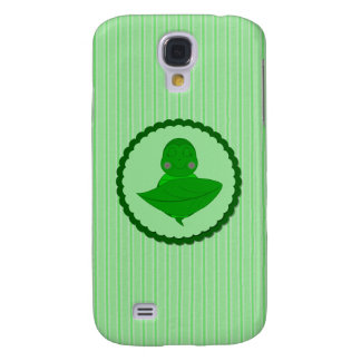 Sleeping Green Turtle Frilly Frame With Stripes Galaxy S4 Cases