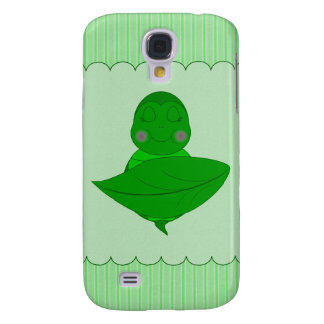 Sleeping Green Turtle Frilly Frame With Stripes Galaxy S4 Cover