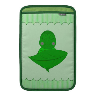 Sleeping Green Turtle Frilly Frame With Stripes iPad Sleeves