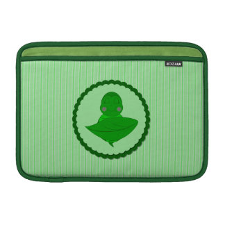 Sleeping Green Turtle Frilly Frame With Stripes Sleeve For MacBook Air