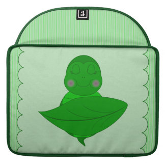 Sleeping Green Turtle Frilly Frame With Stripes MacBook Pro Sleeve