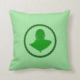 Sleeping Green Turtle Frilly Frame With Stripes Throw Pillow