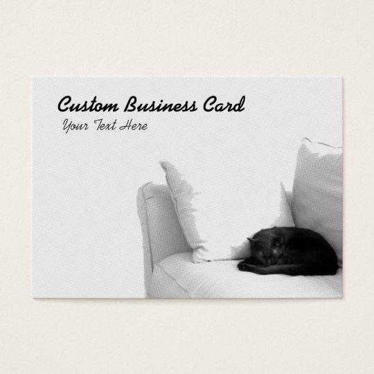 Sleeping Grey Cat on White Sofa Business Card