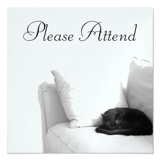 Sleeping Grey Cat on White Sofa Card